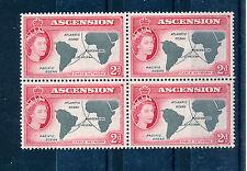 ASCENSION 1956 DEFINITIVES SG60 2d BLOCK OF 4 MNH