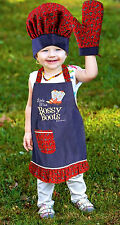 Bossy Boots Child's Apron Set With Oven Mitt And Chef's Hat