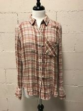 FREE PEOPLE Women's Flannel Shirt Size Small Plaid Button Down Long Sleeve 132