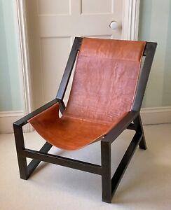 Nkuku Narwana Aged Tan Leather Lounger / Lounge Chair with Black Metal Frame