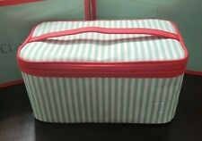 """2020 Clinique Large Makeup Cosmetic Train Case Bag Red, White & Green 10""""x6""""x5"""""""