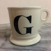 Anthropologie Monogram Letter G Alphabet White Black Shaving Style Mug Cup
