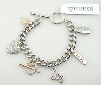 Guess Crystal Heart W Arrow Love Lock Charm Gold Silver Statement Bracelet NWT