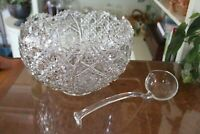 Smith Glass Daisy and Button Clear Punch Bowl and Ladle Set