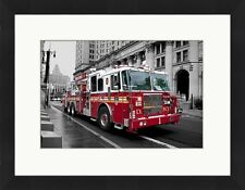 "New York City Fire Truck FDNY Photo Photographie encadrée Imprimer 26x20"" Global"
