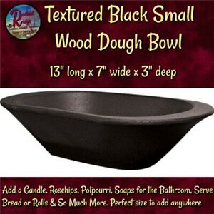 Vintage Style Wood Textured Black Dough Bread Bowl Reproduction