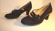 Soft Spots Women's Shoes Black Suede Patent Straps Pump Heels Size 7.5 M