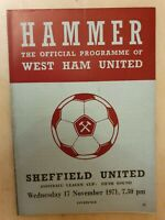 1971 LEAGUE CUP WEST HAM UNITED v SHEFFIELD UNITED 5th Round - 17th November