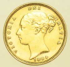 1884 SHIELD HALF SOVEREIGN BRITISH GOLD COIN FROM VICTORIA VF