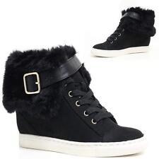 Ladies Wedge Boots Women Memory Foam Smart Ankle Biker Heels Desert Shoes Size