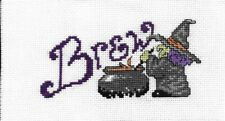 Completed 18 count Halloween Witchy Brew Cross Stitch