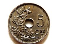 """1920 Belgium Five (5) Centimes """"French Text"""" Coin"""