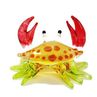 Crab Miniature Hand Blown Clear Glass Figurine Animal Collectible Decor gift