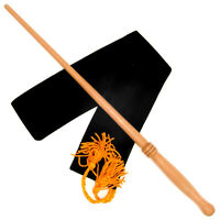 """15"""" Empress Hand Turned Mahoe Wood Magic Wand Witch Wizard Wicca w/ Velvet Bag"""
