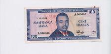 BURUNDI: BRB 100 Francs Banknote Specimen 1964 ( P 12) UNC condition