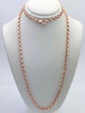 "Men's Solid 14K Rose/Pink Gold 22"" Handmade Chain Link Necklace 4.2mm 32g"