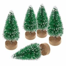 5X Mini Sisal Bottle Brush Christmas Tree Santa Snow Frost Village Putz House