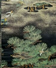 Black Silk Vintage Obi w/ Birds and Pine Trees with Metallic Gold