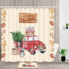 Red christmas truck Shower Curtain Bathroom Decor Fabric & 12hooks 71x71inch