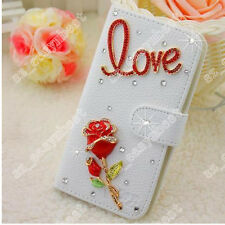 Stylish Phone Case Diamond Crystal PU Leather Skin Card Wallet Bling Stand Cover