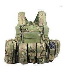 Adjustable Heavy Duty Tactical Airsoft MOLLE Combat Vest MC CP Multicam w/ pouch