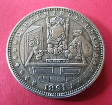 1891 MORGAN DOLLAR SCROOGE MCDUCK TIME IS MONEY XMAS HOBO FANTASY CARVED COIN
