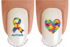 Nail Art #6507 Autism Ribbon Puzzle Heart Waterslide Nail Decals Transfers