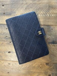 Authentic Chanel Agenda MM In Black Quilted Caviar Leather