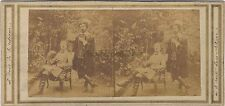 Deux hommes dans un jardin Acteurs ? Photo Stereo Vintage salé albuminé ca 1855