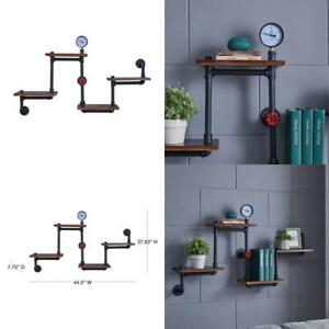 4-Shelf 44.5 in. x 8 in. Corner Or Straight Floating Industrial Pipe Wall Mount