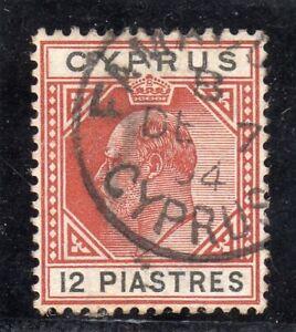 CYPRUS EDVII SG;57, 12pi chestnut and black F/U CDS FAMAGUSTA DE.7.04 CAT.£85 ++