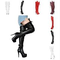Womens High Stiletto Heels Buckle Lace Up Zipper Over The Knee Thigh Boots Shoes