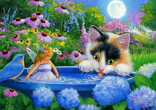 Calico kitten cat fairy bird bath moon fantasy OE aceo print of painting art