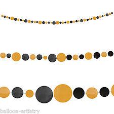 9ft Halloween Black Orange Polka Dots Paper Spots Garland Decoration