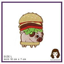Patch Dog Pug Hamburger Animal Embroidered Iron on Patch Fabric Craft 10 x 7 cm
