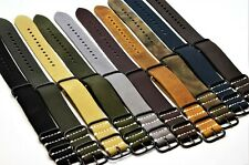 Nato Leather strap, correa de reloj, Military fits Panerai 18mm-26mm Handmade,