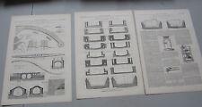 Lot of 3 Original Old 1880 ROYAL ALBERT DOCK Engineering Drawing PRINTS - London