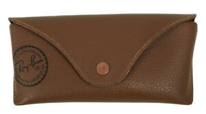 RAY BAN Glasses CASE ONLY Soft Brown Tan Eye Sun Snap Luxottica Logo USA BOXED