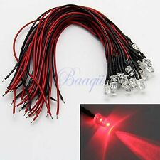 20x 5mm Red Color Pre-wired LEDs 12V for Car Boat Motor MA437 MA