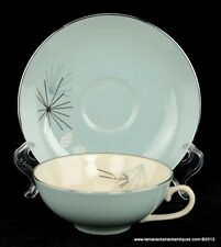 Franciscan Fine China Silver Pine Cup & Saucer Set Gladding, McBean & Co. Retro
