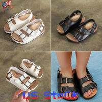 Children Cork Shoes Beach Sandals Boy Buckle Summer Kids Girl Footbed Casual US