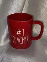 """Rae Dunn Artisan Collection """"#1 TEACHER"""" New Red Mug large Letter LL"""