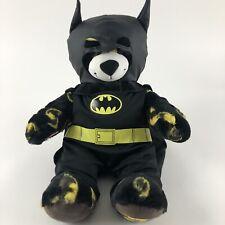 "Build A Bear Batman Logo Plush Teddy Bear Black Print Comics Superhero 17"" BAB"