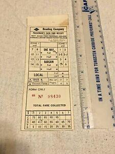 1940s? Reading Company Railroad Train Ticket Zone 1 PA Form CFR-7 Neat NR!