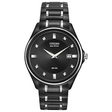 Citizen Eco-Drive Men's Diamond Accents Black Bracelet 40mm Watch AU1054-54G