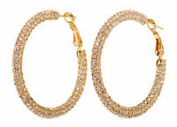 Swarovski Elements Crystal Kalix Hoop Pierced Earrings Gold Authentic New 7210v