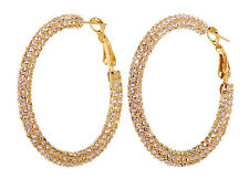 "Swarovski Elements Crystal 1 7/8"" Kalix Hoop Pierced Earrings Gold Plated 7210y"