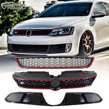 For 2014 2016 VW Jetta MK6 GLI Front Upper and Lower Grill Black Red Trim Grille