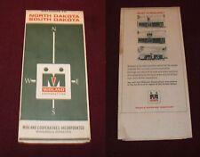 1968 MIDLAND Road Map of N & S DAKOTA