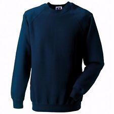 Mens/Ladies Russell Classic Polycotton Plain Navy Sweatshirt Jumper L B42